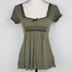 H&M Knit Top Army Green Smocked Blouse Boho